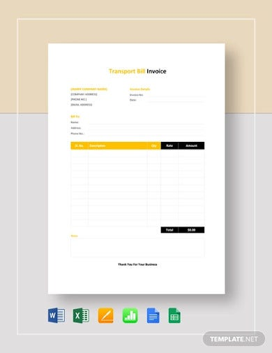 transport bill invoice template