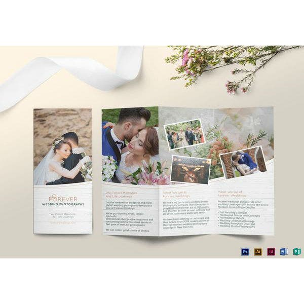 tri fold wedding brochure template
