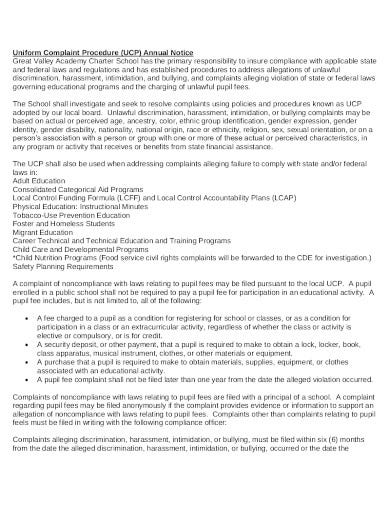 uniform complaint policy and procedure annual notice