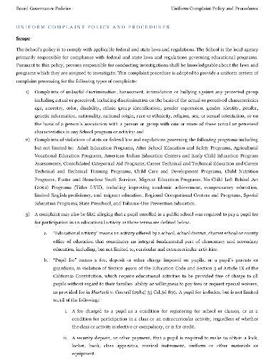 uniform complaint policy and procedure in pdf