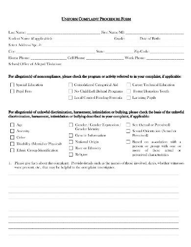 uniform complaint policy and procedures form template