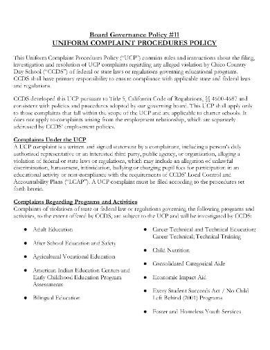 uniform complaint procedure policy in pdf