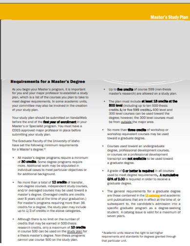 university research study plan template