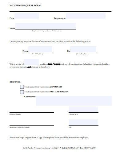 university vacation request form template