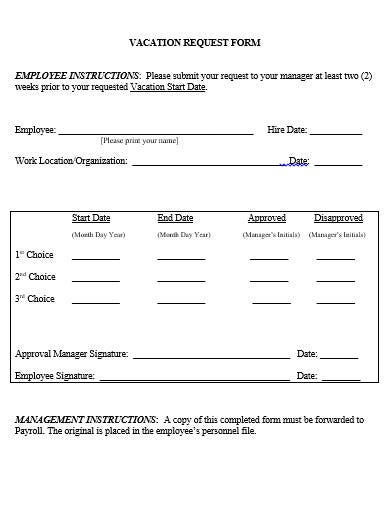 vacation request form template in doc