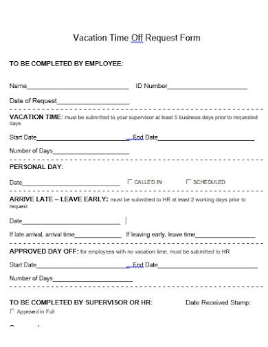 vacation time off request form template