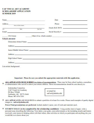 visual art academy scholarship application
