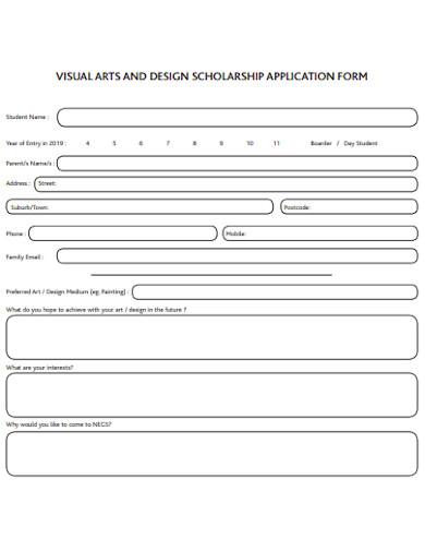 visual arts design scholarship form