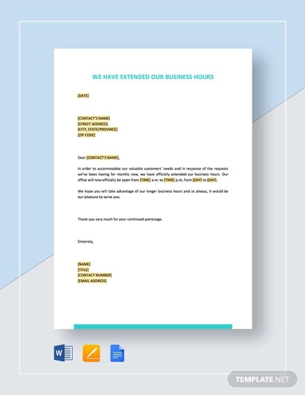 we have extended our business hours template