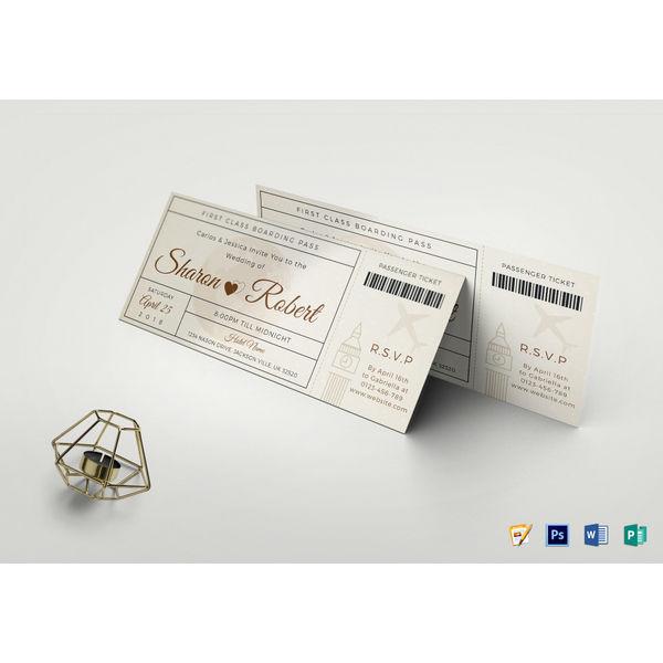 wedding boarding pass invitation ticket template
