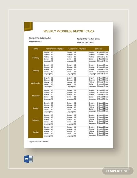 weekly progress report card template
