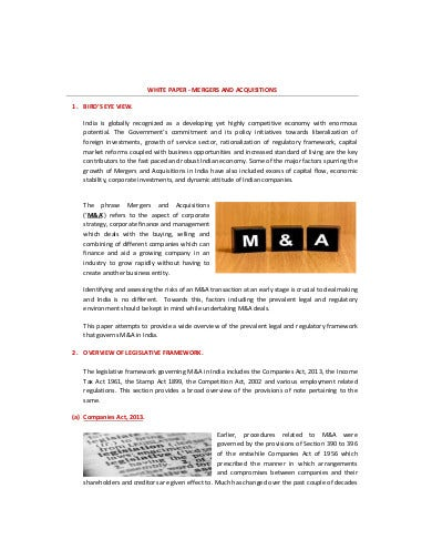 white paper mergers and acquisitions law template1