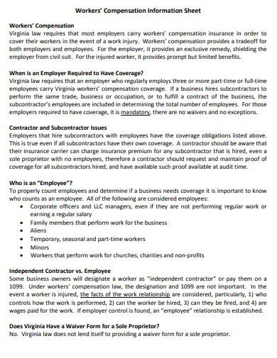 workers compensation information sheet