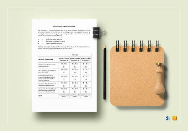 worksheet franchise comparison mockup