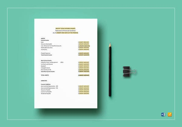 financial statement template mockup
