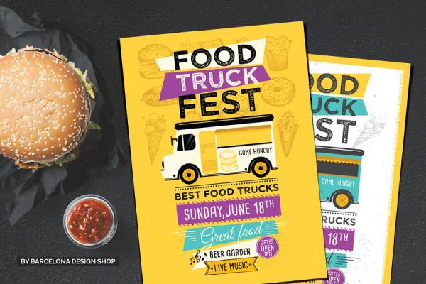 food truck menu template burger poster 1