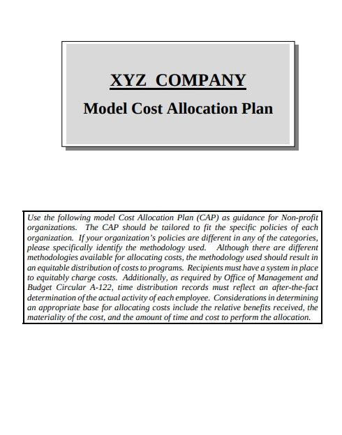 model cost allocation plan