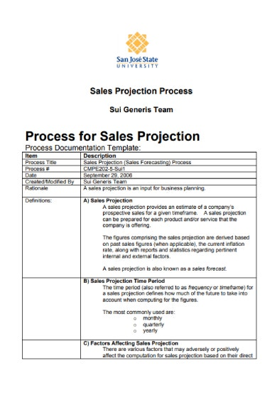 process for sales projection