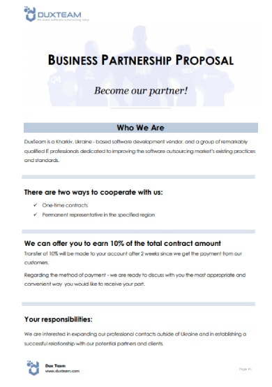 software business partnership proposal