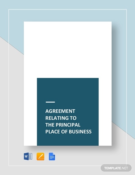 agreement relating to the principal place of business