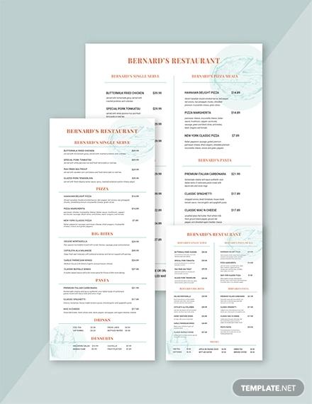 american family restaurant menu template