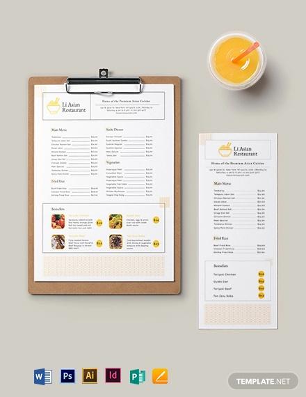 asian restaurant menu template