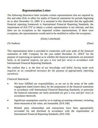 audit opinion representation letter