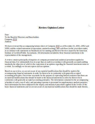 audit opinion review letter