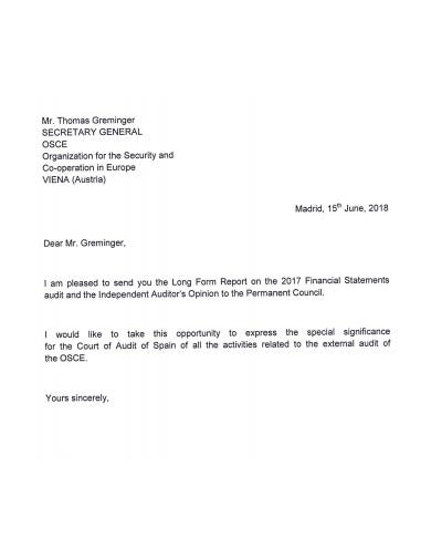 audit opinion to council letter