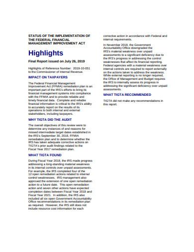 audit remediation plan highlights