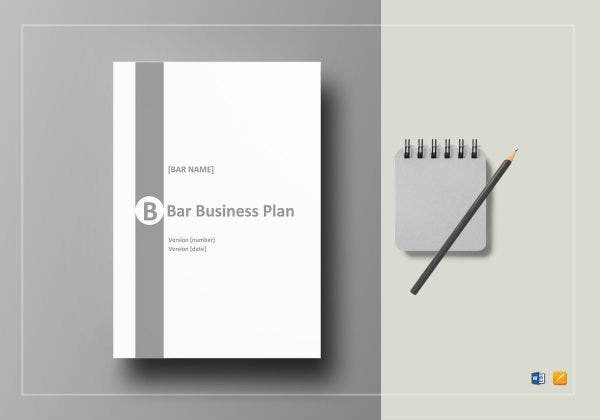 bar business plan template mockup