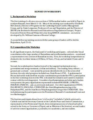 basic training workshop report