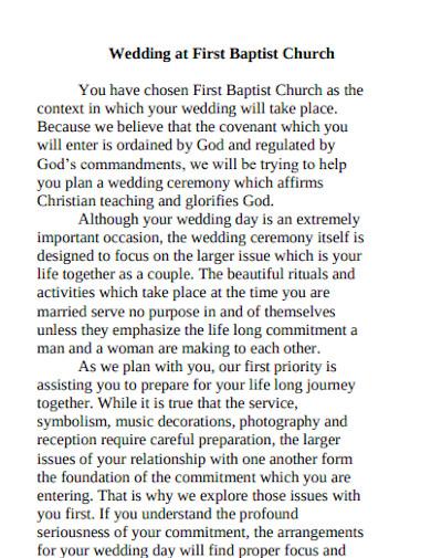 best church pre wedding program
