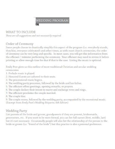 best church wedding ceremony program