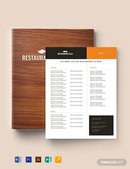 blank restaurant menu template1