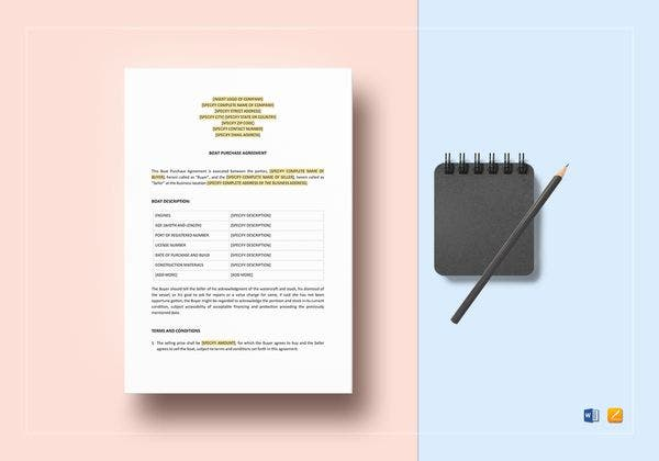 boat purchase agreement template 600x420