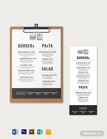 burger restaurant menu template1