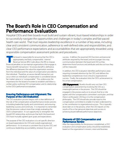 ceo compensation performance evaluation plan