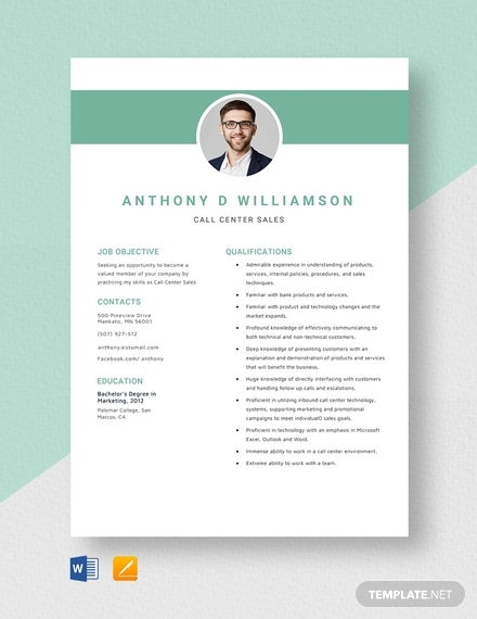 call center sales resume template