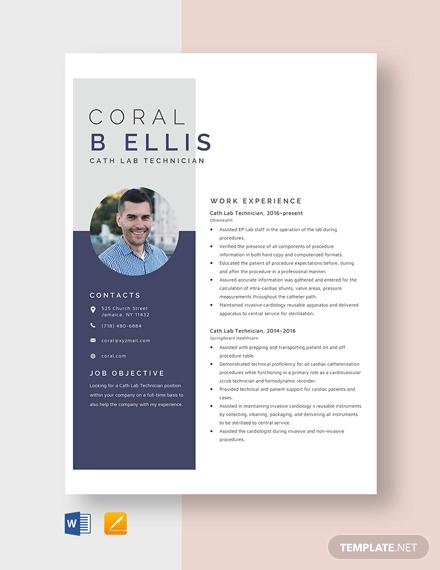 cath lab technician resume template