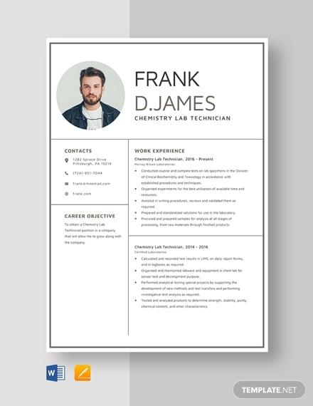 chemistry lab technician resume template