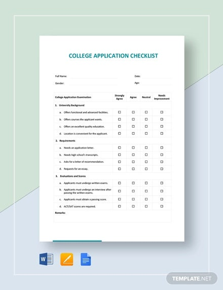 college application checklist template