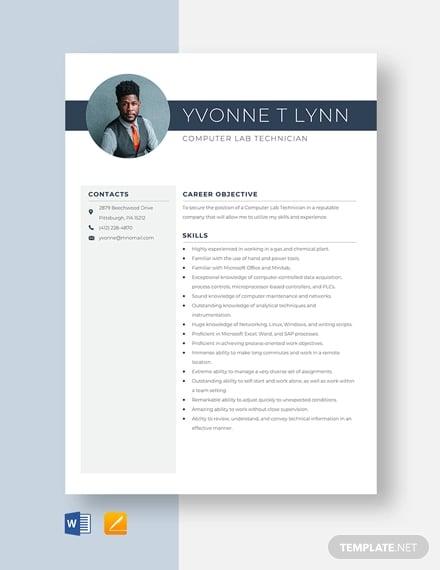 computer lab technician resume template
