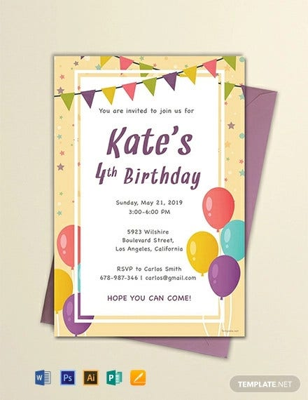 email birthday invitation template