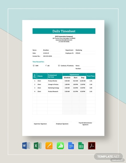 employee daily timesheet 2