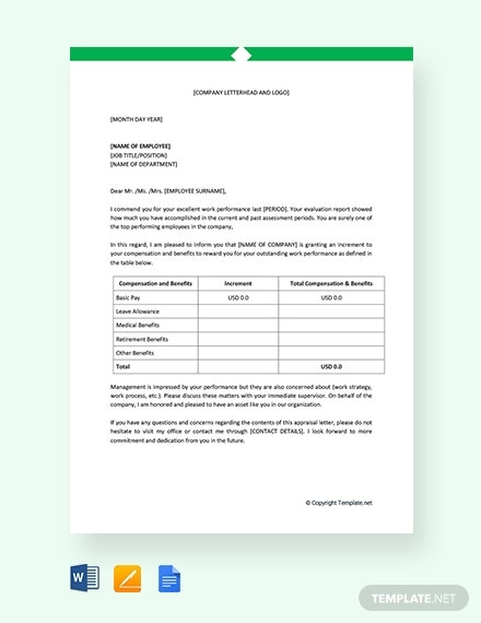 employee performance appraisal letter