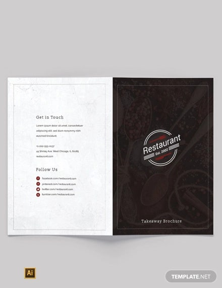 family restaurant bi fold brochure template