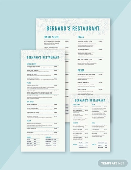 family restaurant menu template1