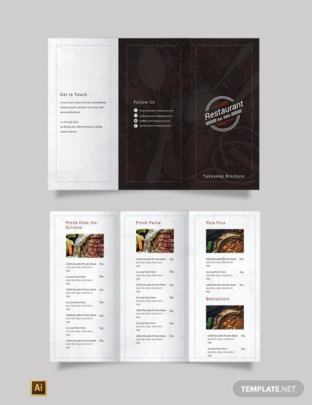 family restaurant tri fold brochure template