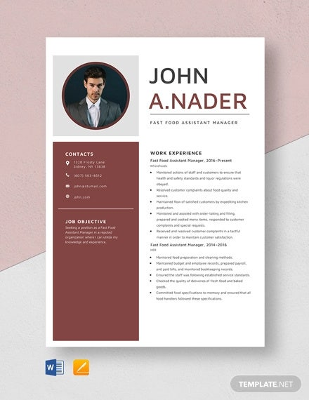 fast food assistant manager resume template